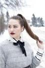 Silver-wool-american-eagle-sweater-white-burton-blouse