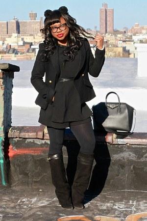 black sheath Givenchy boots - black crossover smythe blazer - black falke tights