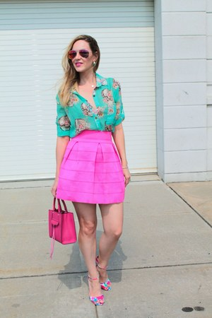 hot pink skirt - hot pink bag - hot pink Old Navy sunglasses - aquamarine blouse