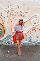 Forever 21 skirt - Steve Madden shoes - Anthropologie shirt - linea pelle bag