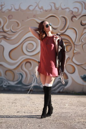 south moon under jacket - stuart weitzman boots - lace up dress Forever 21 dress