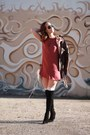 Stuart-weitzman-boots-lace-up-dress-forever-21-dress-south-moon-under-jacket