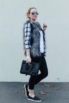 H&M vest - flannel shirt H&M shirt - rayban sunglasses - DSW sneakers