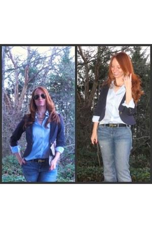 Forever 21 blazer - Gap jeans - Ray Ban sunglasses - Nicholas Kirkwood heels