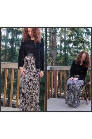 maxi H&M skirt - velvet nicole miller blazer - BCBG blouse - H&M belt
