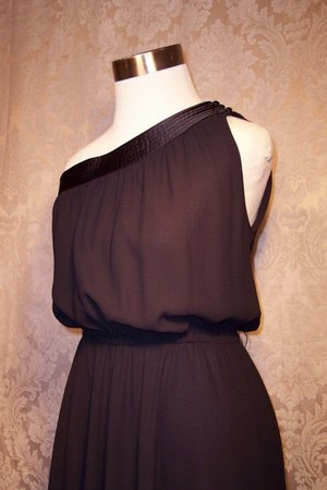 Vintage 1970s Pierre Cardin one shoulder black cocktail dress dress