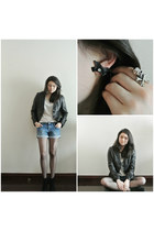 leather TINA GIA blazer - denim Forever21 shorts - pull&bear top