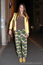 lime green Marni for H&M pants - yellow Zara blazer - dark brown Miu Miu bag