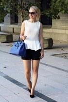 white peplum Zara top - blue Giostra bag - black Zara shorts