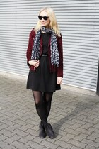 H&M dress - Mango jacket - little burgundy scarf