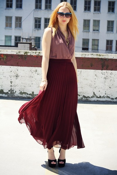 crimson pleated maxi le chateau skirt