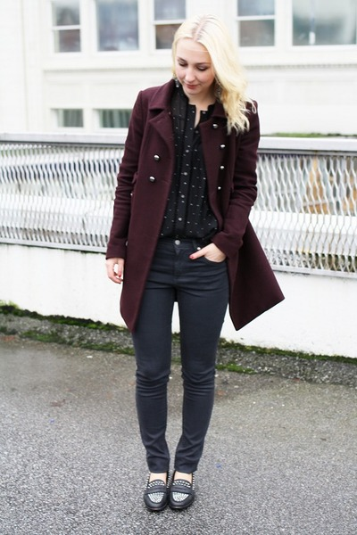 crimson Tara Jarmon coat - charcoal gray COS jeans - black Club Monaco blouse
