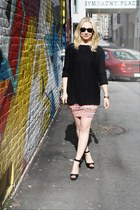 black Zara sweater - light orange Colcci dress - black Zara heels