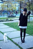 black Topshop hat - black Zara sweater - periwinkle Shoppalu skirt