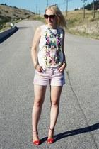 diy tie-dye vintage DIY shorts - floral print H&M top - two tone Zara sandals
