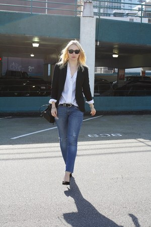 sky blue Zara jeans - black Zara blazer - white vintage blouse