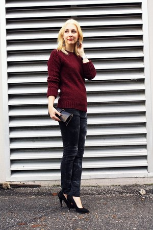ruby red Zara sweater - dark gray Zara jeans - black Fiveleft Leather bag
