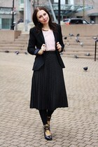 golden dots vintage skirt - Zara blazer - pleated Sparkle & Fade blouse