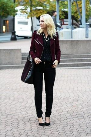 black golden beads Zara jeans - crimson leather Mango jacket