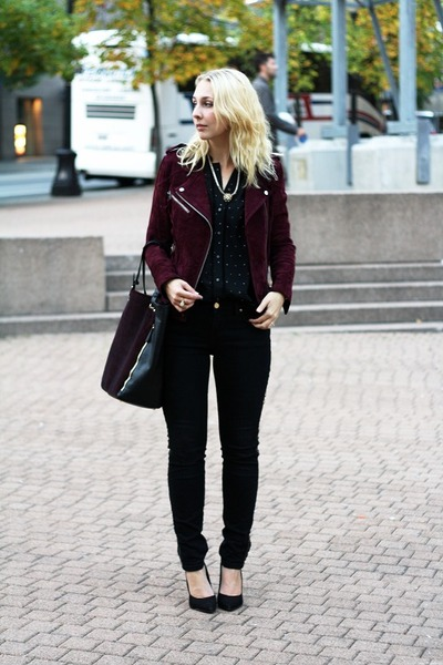 black golden beads Zara jeans - crimson leather Mango jacket