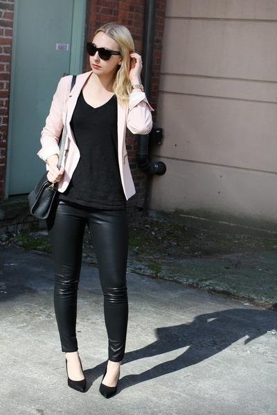 light pink Pull & Bear blazer - black BDG pants - dark gray Zara t-shirt