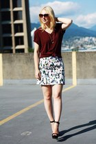 bright print Joe Fresh skirt - crimson mans fit BDG t-shirt