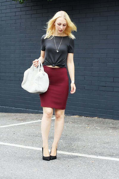 brick red H&M skirt - charcoal gray Zara shirt - off white Alexander Wang bag