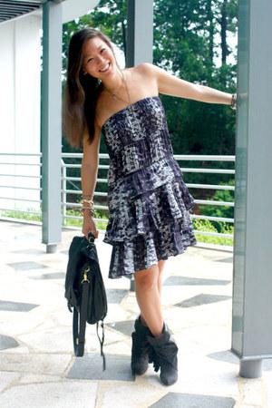 H&M boots - H&M dress - onie messenger CC Skye bag