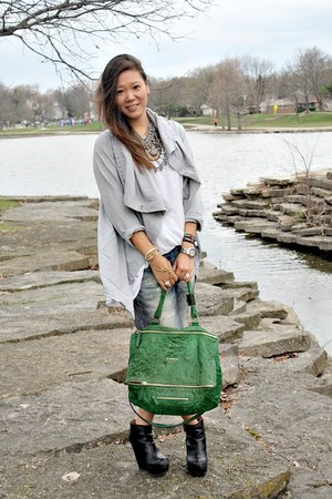 Givenchy bag - acne boots - rag & bone jeans - ecote t-shirt - Kerrigan cardigan