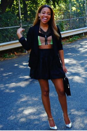 chartreuse H&M top - black H&M blazer - black vintage skirt