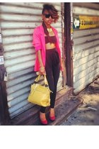 no brand top - hot pink H&M blazer - black Forever 21 pants
