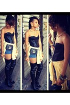 leather corset H&M top - no brand boots - Gap shirt - Chanel bag - Guess shorts