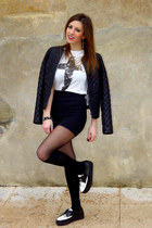 white creepers chicnova shoes - black romwe tights - white cross Primark top