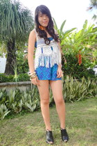 blue Forever21 romper - black jannilyn boots - ivory crocheted top WAGW blouse