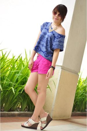 violet Forever 21 shirt - hot pink Forever 21 shorts