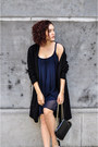 Navy-forever-21-dress-silver-twice-as-nice-bracelet-black-expresso-cardigan