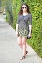 black stripes Forever21 shirt - lime green pineapple H&M skirt