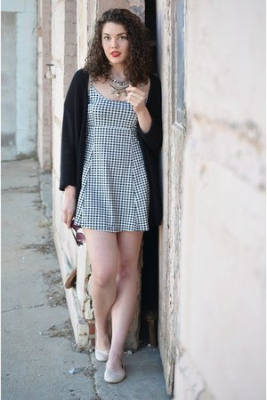 black Forever 21 dress - nude Lucky Brand flats - black H&M cardigan