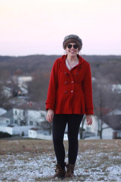 red pleated Anne Klein coat - dark brown faux fur asos hat