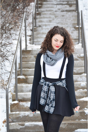 black pinafore H&M dress - charcoal gray H&M scarf