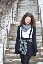 black pinafore H&M dress - charcoal gray H&M scarf