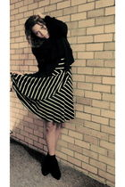 black H&M blazer - black H&M scarf - black ann taylor dress - gold DKNY socks -