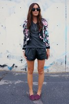 black leather OASAP shorts