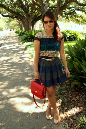 blue lace ann taylor dress - ruby red J Crew bag - navy BCBGeneration skirt