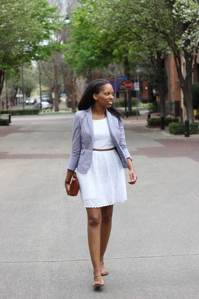 white eyelet Old Navy dress - striped banana republic blazer