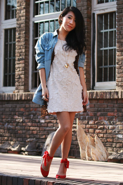 white H&M dress - sky blue denim Monki shirt - dark brown leopard print H&M scar