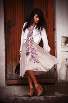 white chiffon Zara shirt - salmon H&M scarf - dark brown thrifted vintage bag -
