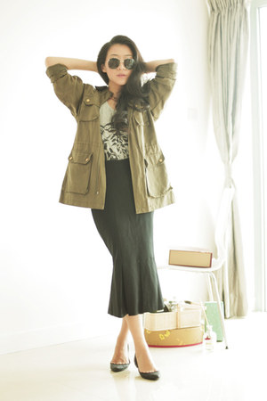 army green unknown brand jacket - black asos skirt