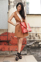 bronze H&M vest - ivory H&M dress - red asos bag - black asos heels