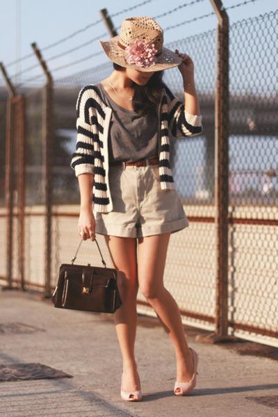 beige American Apparel shorts - eggshell Topshop hat - dark brown vintage bag